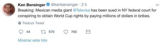 demandan a televisa por sobornos millonarios para tener el mundial 1