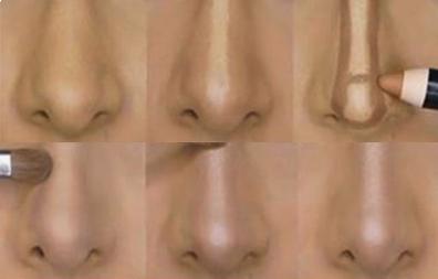 como adelgazar la nariz con maquillaje 1
