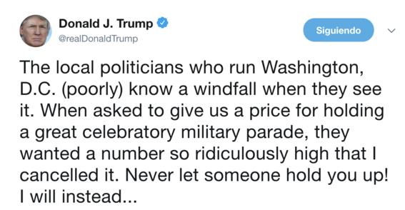 trump cancela desfile militar por su alto costo 1