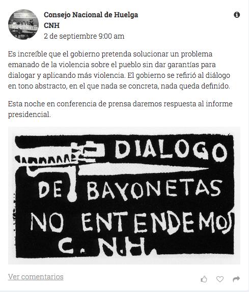 2 de septiembre el movimiento estudiantil no dialogara con un gobierno armado 2