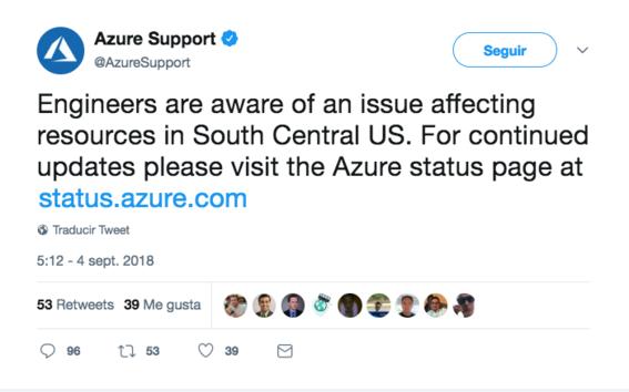 microsoft azure reporta caida de sus servidores 1