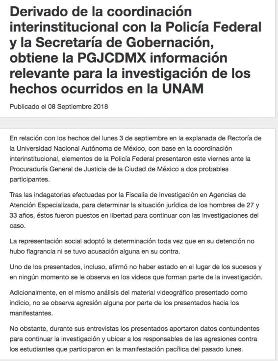 unam exige explicacion por liberacion de presuntos porros 2