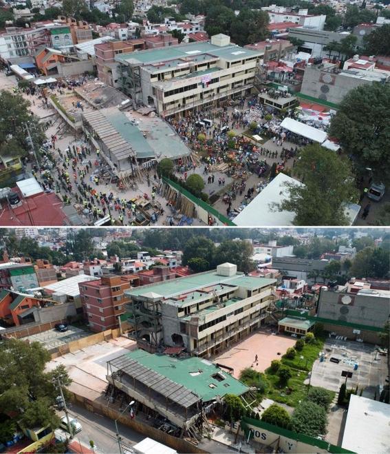 imagenes que muestran antes y despues del sismo en cdmx 2