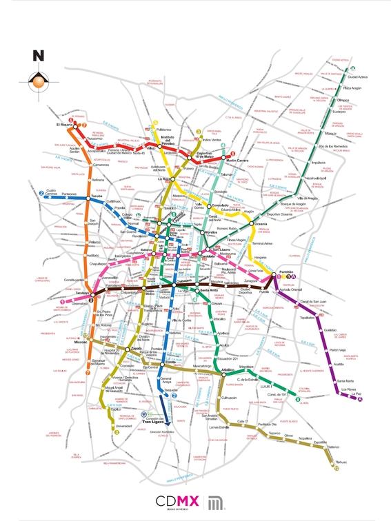 mapa del metro de la cdmx 1