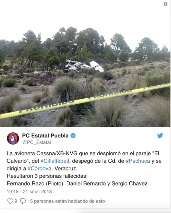 accidente de avioneta en pico de orizaba 1