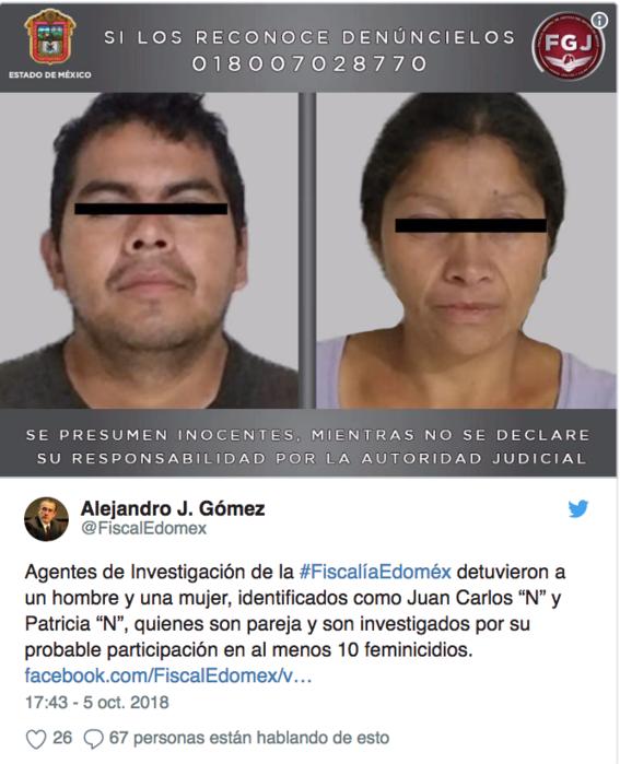 pareja detenida por el feminicidio de al menos diez mujeres 1