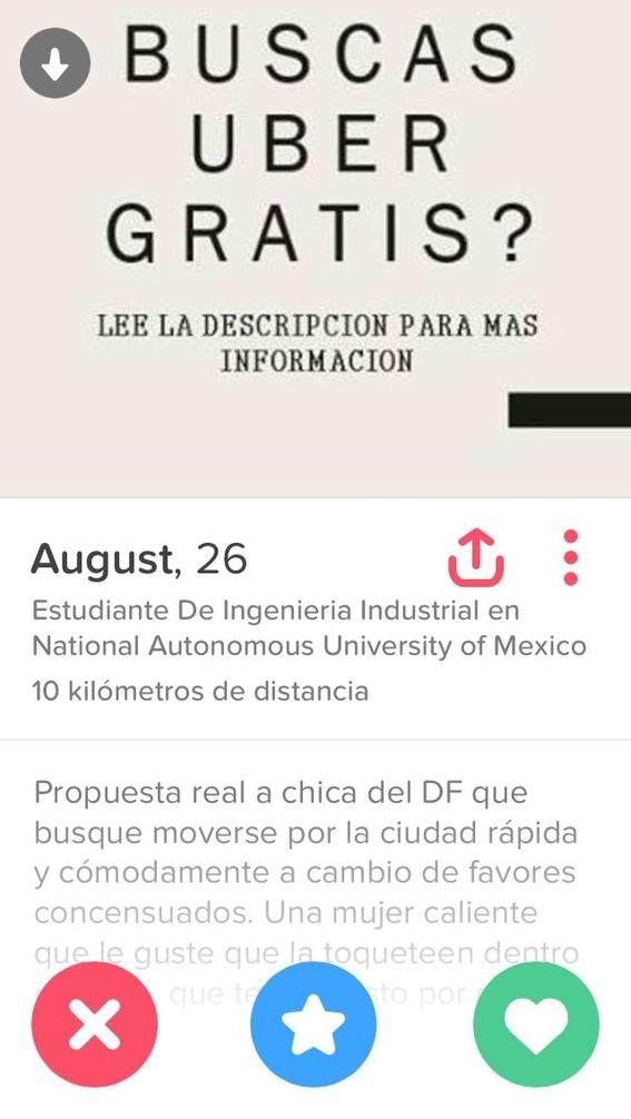 cuentas de viajes de uber a cambio de favores sexuales en tinder 3