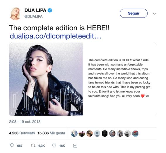 dua lipa lanza la edicion deluxe de su primer album 1
