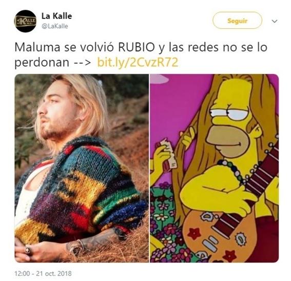 maluma se pinta el cabello de rubio y lo comparan con kurt cobain 11