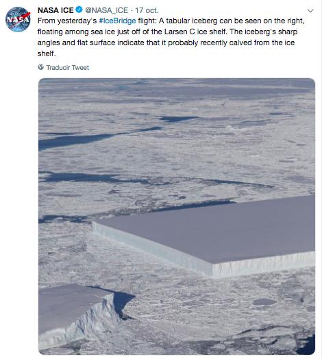 nasa halla un extrano iceberg perfectamente rectangular 1