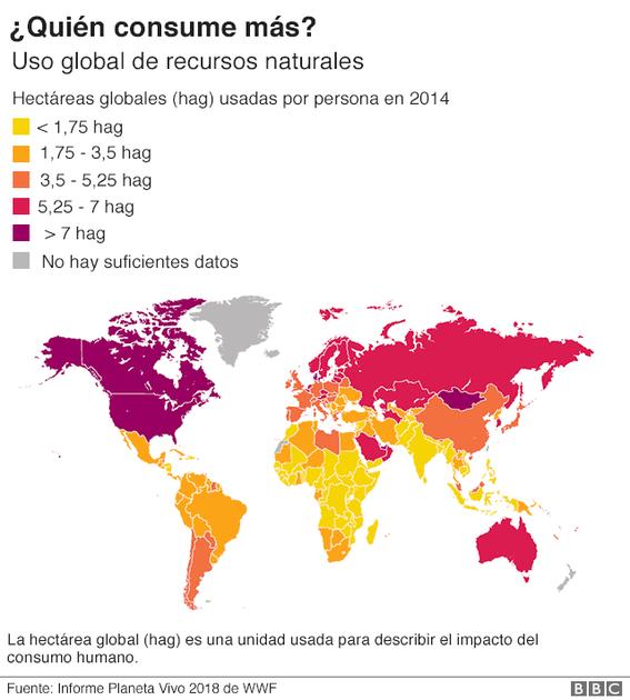 wwf muestra mapa con paises que consumen mas recursos naturales 1