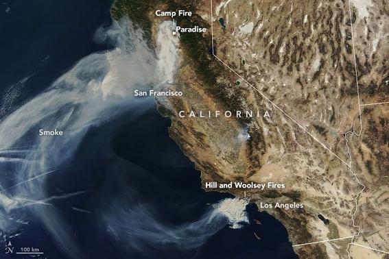 nasa publica imagenes de incendios forestales 1