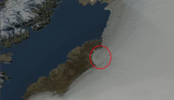 encuentran crater gigante debajo de hielo en groenlandia 1