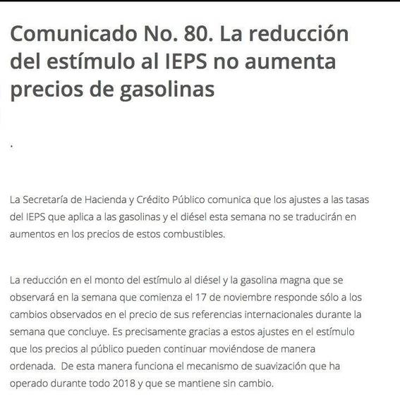 hacienda quita estimulo fiscal a gasolina magna y premium 2