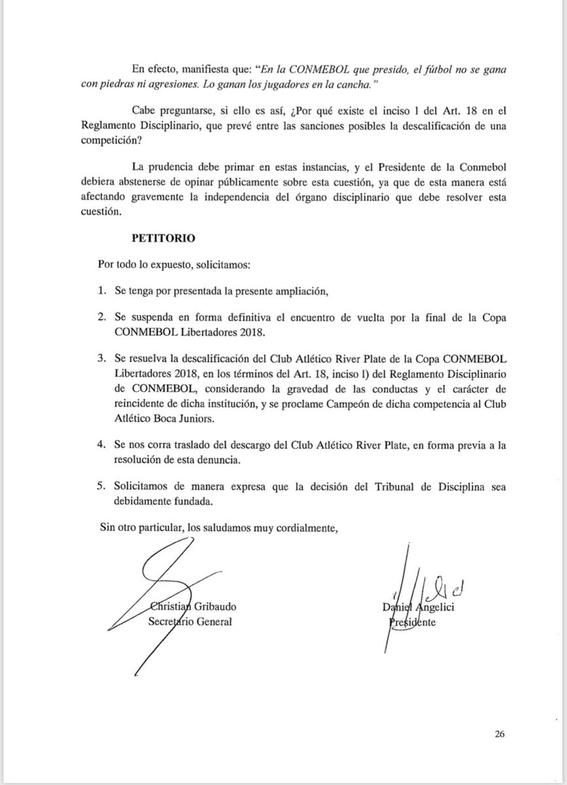 boca juniors pide que se descalifique a river de la copa libertadores 1