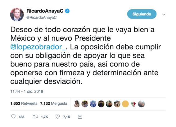 ricardo anaya felicita a amlo por llegada a la presidencia de mexico 1