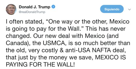 mexico esta pagando por el muro con el tmec donald trump 2
