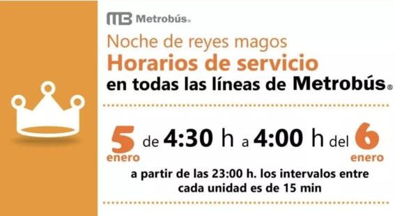 metrobus en cdmx dara servicio todo el dia 5 de enero por reyes magos 1