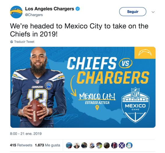 confirmado chiefs vs chargers de la nfl se jugara en mexico 1