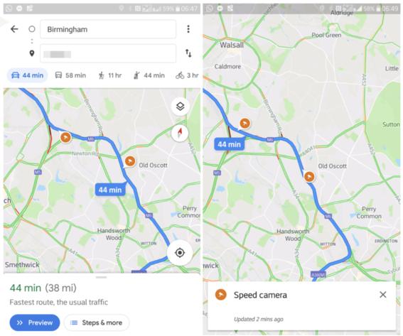 google maps mostrara donde estan los radares limites de velocidad 2