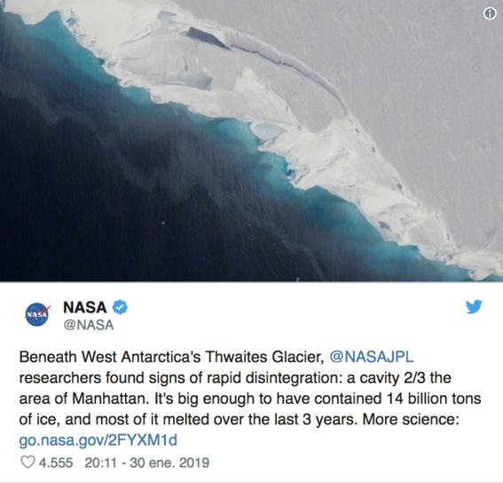 encuentran cavidad dentro del glaciar thwaites que se esta derritiendo 2