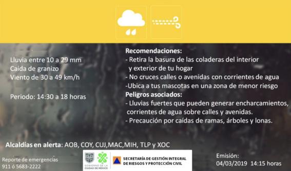granizo lluvia activan alerta amarilla 7 alcaldias cdmx 1