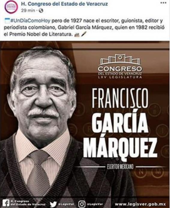 congreso veracruz felicita escritor mexicano francisco garcia marquez 1