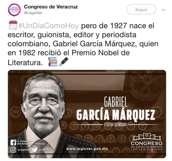 congreso veracruz felicita escritor mexicano francisco garcia marquez 2