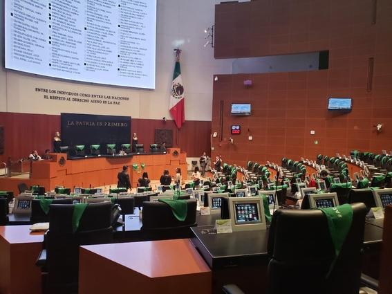 pintan de verde al senado en protesta por penalizacion del aborto en nl 3
