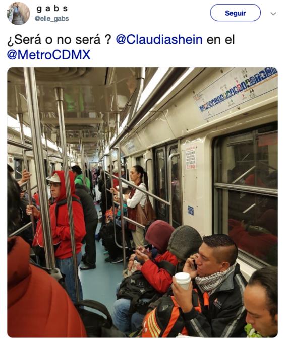 captan claudia sheinbaum viajando en metro de cdmx 1