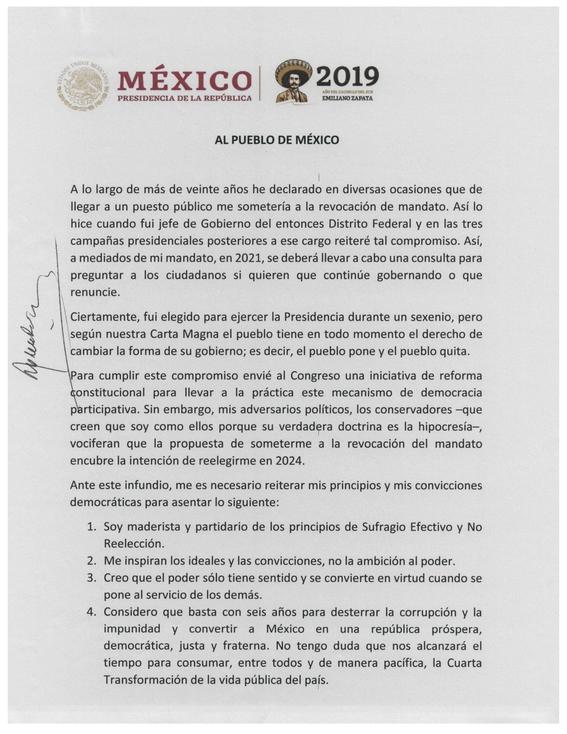 carta que firmo amlo para prometer no reeleccion 1