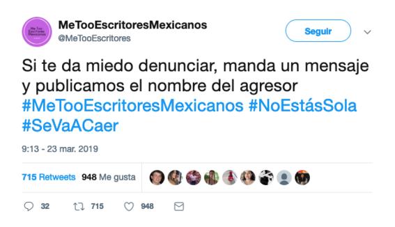 a traves de metooescritoresmexicanos denuncian acoso sexual de escritores en twitter 3
