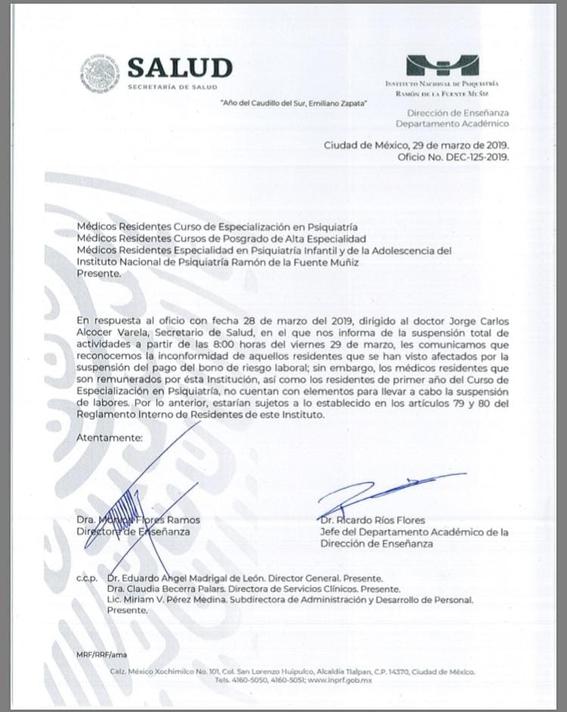 huelga en el instituto nacional de psiquiatria 2
