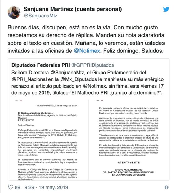 sanjuana martinez se ha visto envuelta en criticas debido a la forma en la que ha desempenado su funcion en notimex 4