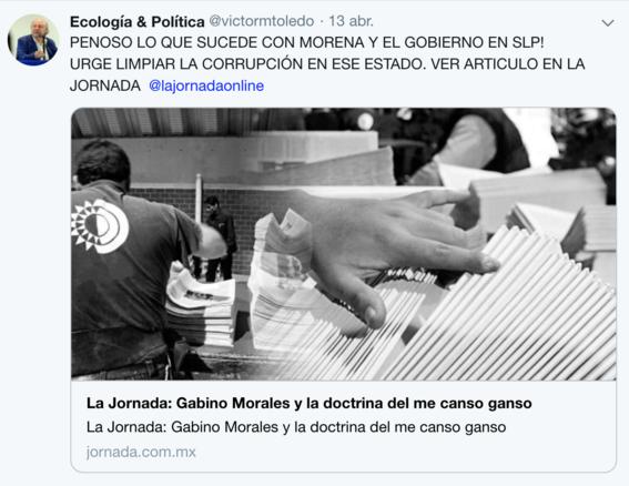 victor manuel toledo el nuevo titular de la semarnat ha mostrado contradicciones sobre amlo en sus redes sociales 10