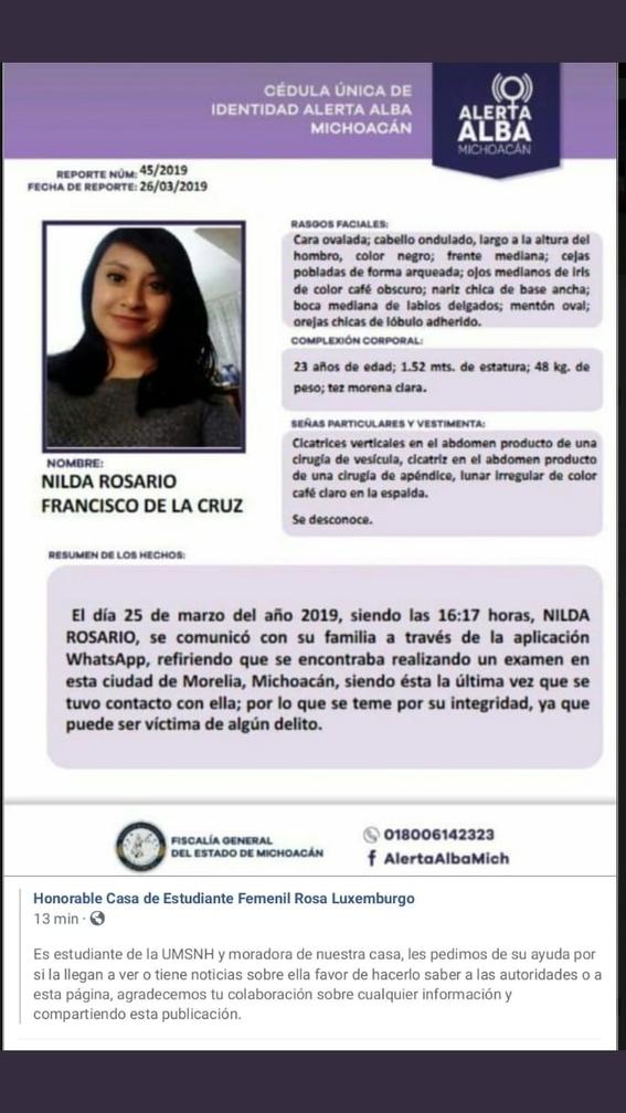 universitaria nilda rosario lleva desaparecida tres meses en morelia 1