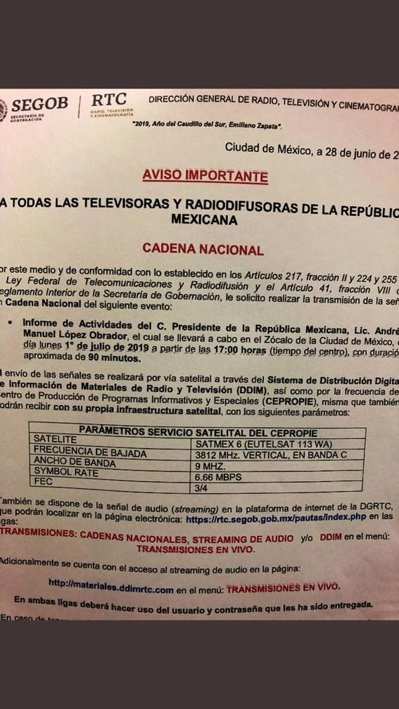 cancelan transmision de festejo de amlo en cadena nacional 1