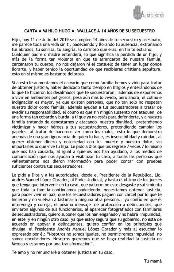 isabel miranda de wallace escribe carta a 14 anos del secuestro de su hijo 1