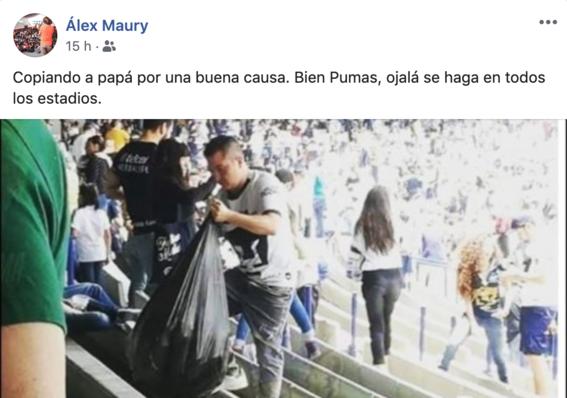 aficionados de pumas limpian estadio de cu despues de un partido 2