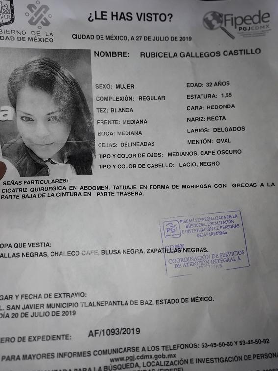 rubicela gallegos desaparece en la cdmx y su familia investiga el caso 1