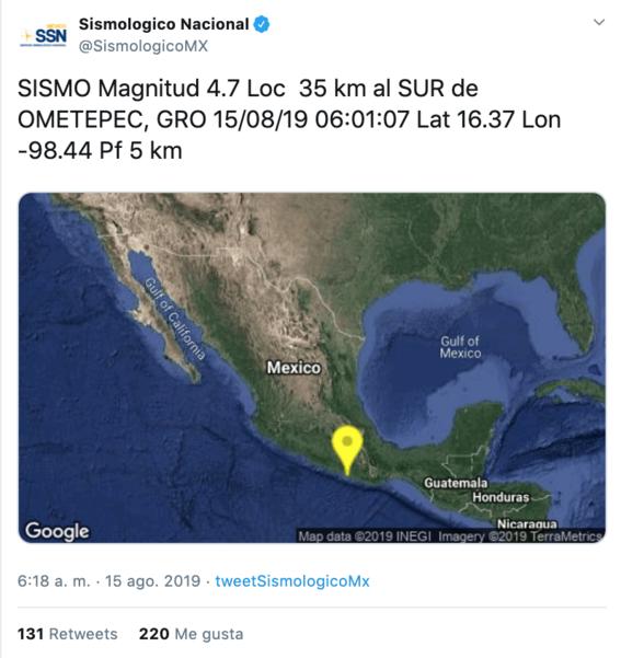 se reporta sismo con intensidad de 47 en guerrero 1