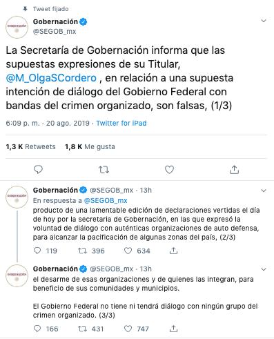 niega sanchez cordero que gobierno dialogue con el crimen organizado 1