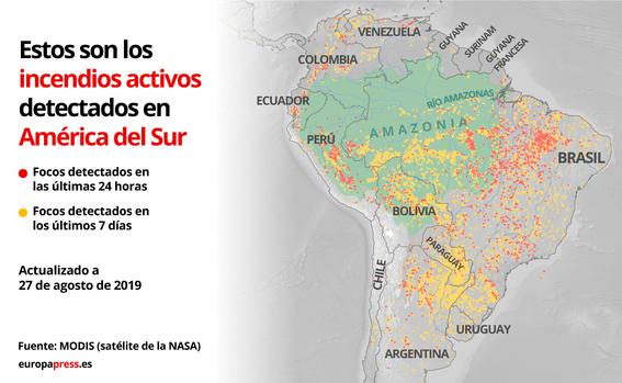 conoce cuales son los incendios activos detectados en america del sur asi como algunos datos  relevantes del fuego en la region 1
