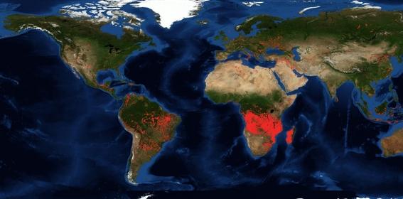 las imagenes de satelite muestran un numero mucho mayor de incendios en el continente africano 1