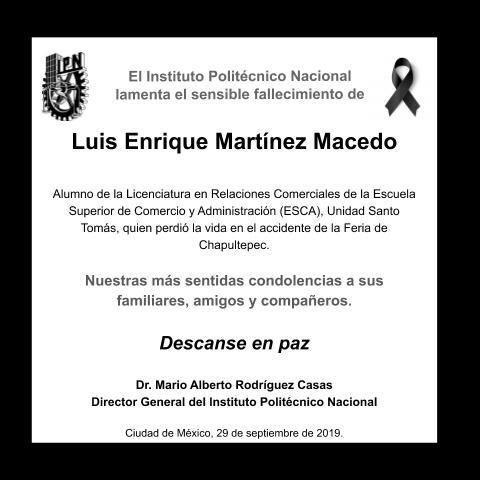 luis enrique uno de los fallecidos en chapultepec era alumno del poli 1
