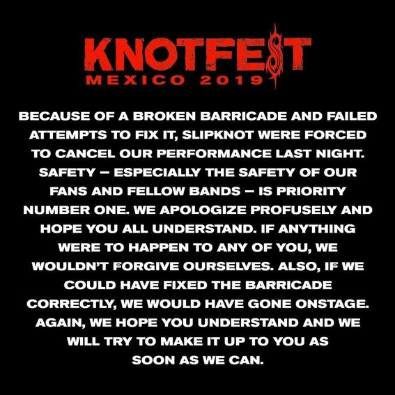 """el festival de metal knotfest termino de manera abrupta luego de que la seguridad fuera superada por un grupo de personas que instaron dar """"porta 3"""