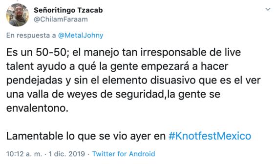 """el festival de metal knotfest termino de manera abrupta luego de que la seguridad fuera superada por un grupo de personas que instaron dar """"porta 5"""
