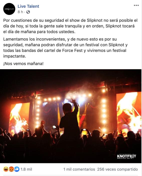 """el festival de metal knotfest termino de manera abrupta luego de que la seguridad fuera superada por un grupo de personas que instaron dar """"porta 4"""