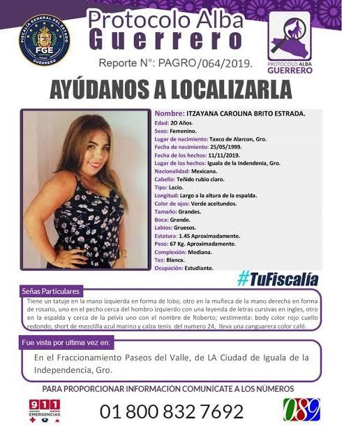 itzayana carolina brito estrada desaparecio el lunes 11 de noviembre al salir de su casa; el fin de semana sus familiares identificaron su cuerpo 1