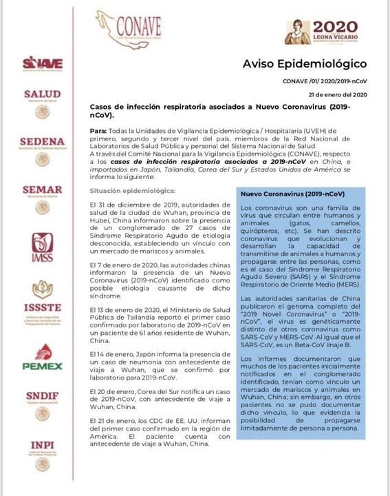 las autoridades de la cdmx permaneceran con un operativo de vigilancia y se declararon en alerta ante la posible presencia del coronavirus en el  1